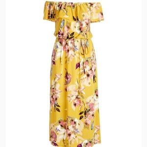 Yellow Floral Off-Shoulder Belted Maxi Dress -NWOT